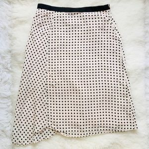BANANA REPUBLIC Light Pink Black Polka Dot Skirt